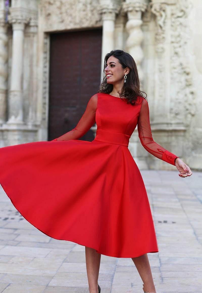 Cheap A Line Long Sleeves Red Homecoming Dress Jewel Neck Short Juniors Sweet 16 Graduation Cocktail Party Dress Plus Size por encargo