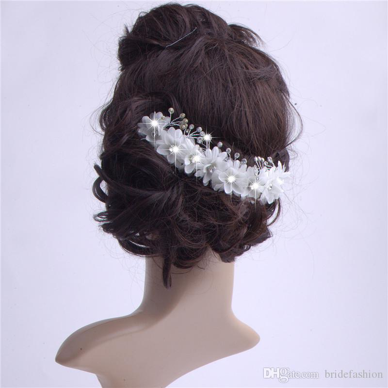 2015 Bead Flower Hair Accessories For Wedding With Comb Bridal Headwear Fascinator Hats Tiaras Head Piece Wedding Cheap