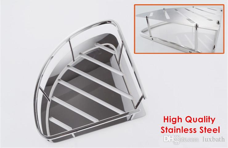2015 Wholesale Bathroom Corner Triangular Tub and Shower Caddy Basket Polished 304 SUS Stainless Steel Bathroom Rack