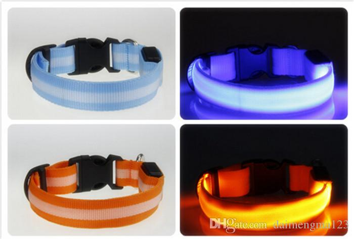 Hund Streifen Halsbänder Hund LED Halsband Glow Cat Halsbänder Flashing Nylon Hals Light Up Training Halsband für Hunde D499