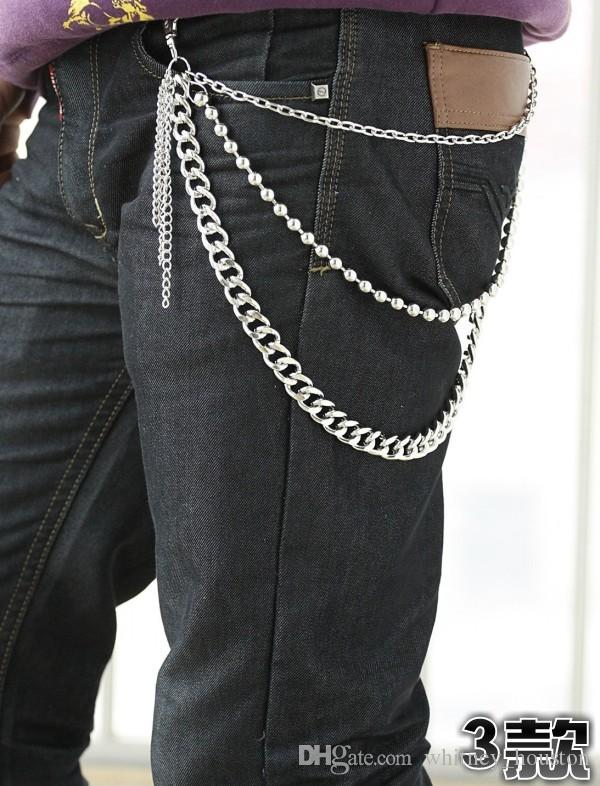 Wholesale Mens Boys Punk Belly Chain Jeans Metal Skull
