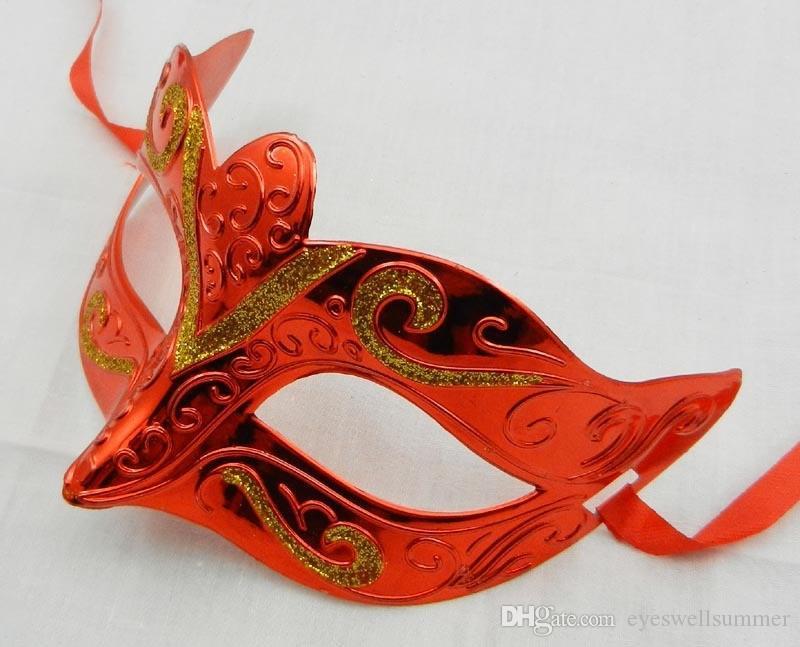 100шт / много цветов смешивания Моды маски золота блестящего гальваническая маска партии свадьба реквизит маскарад Мардите Гру маски
