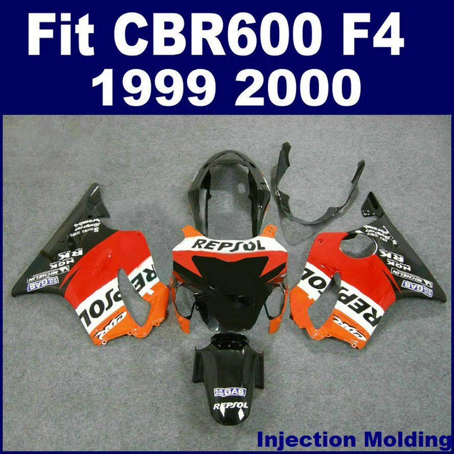 7Gifts +100% Injection molding fairing for HONDA CBR600 F4 1999 2000 black red orange 99 00 cbr 600 f4 fairings kits KMUY