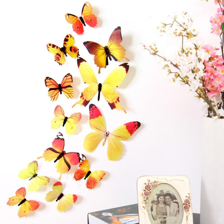 Colorfull Decal Wall Stickers Home Decorations 3D Butterfly Rainbow Wall Sticker butterfly PVC Wallpaper for living room