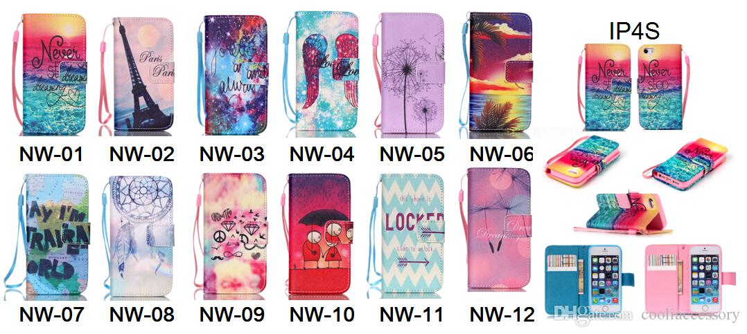 For Iphone 6 6S 4.7 6S Plus I6S 4 4S 4G 5 SE 5S 5C Paris Tower Cartoon Flower Flip Wallet Leather Pouch Phone Case Chain Stand Sea TPU Cover