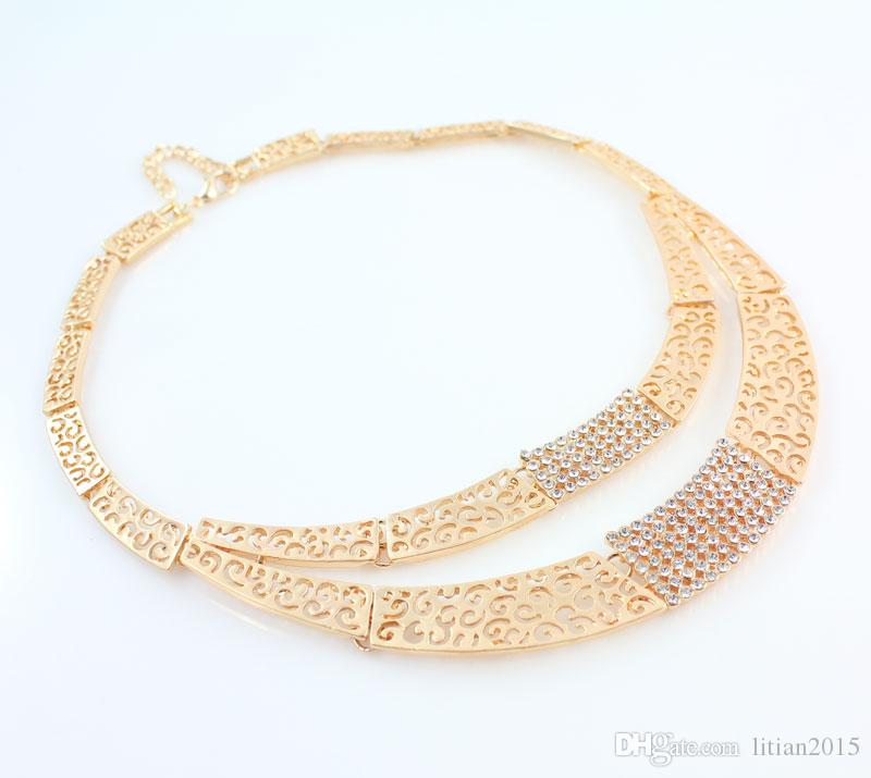 Jewelry Sets Fashion Wedding Accessories African Jewelry Sets 18K Gold Rhinestone Necklace Earrings Set Bridal Jewelry Set