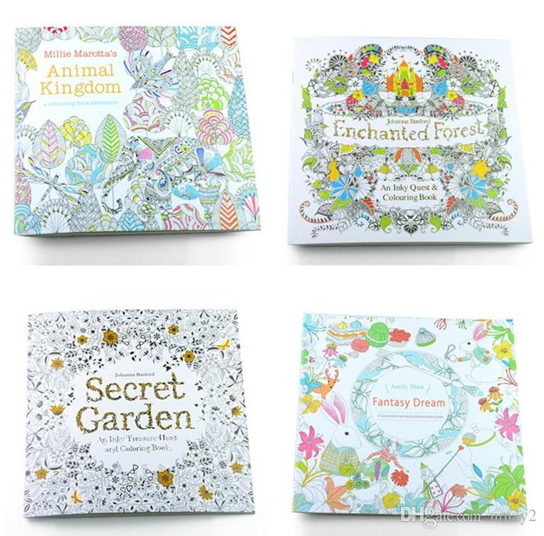 Secret Garden Coloring Books 4 Designs Animal Kingdom Fantasy Dream And Enchanted Forest 24 Pages For Kids Adults Color Book