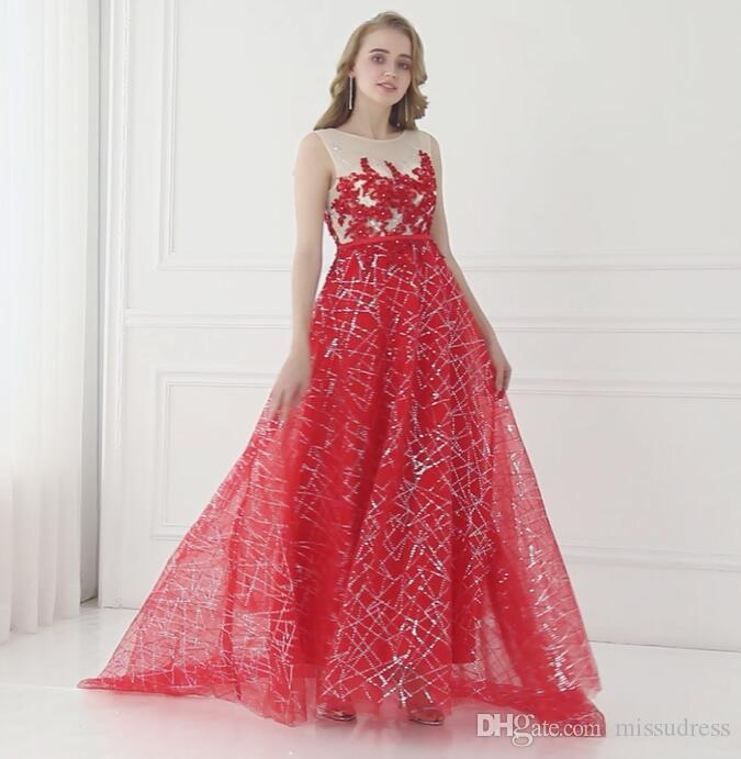 Prom Dresses Long Red Sequined Designer Evening Gown Appliques Sexy ...
