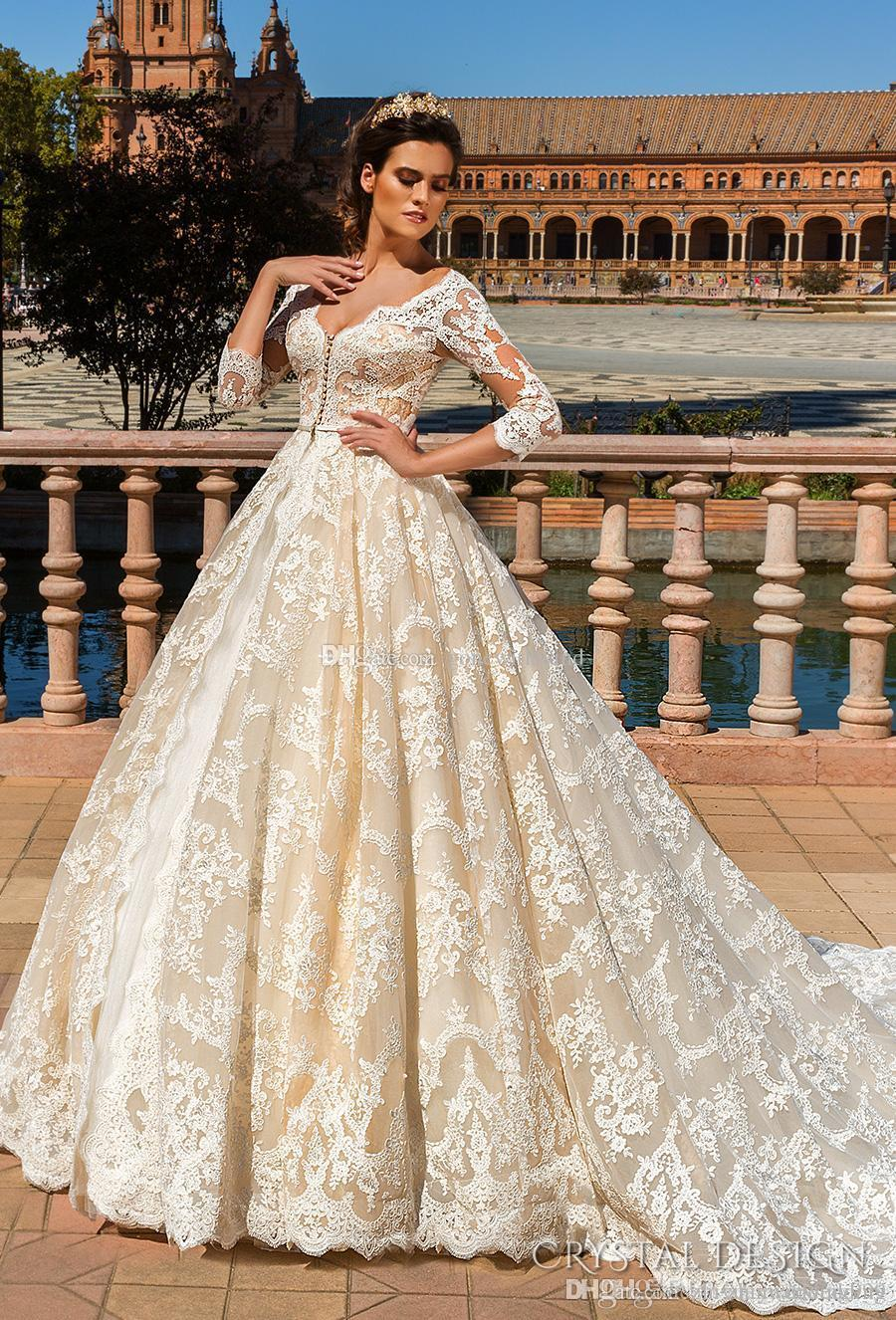 e25689e6a0 ... Illusion Plunging V Neck Strapless Gown. Princess Blush Nude Lace Ball  Gown Wedding Dresses 2017 Crystal .