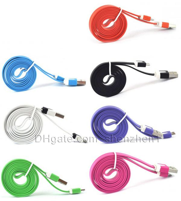 Flat micro usb cable colorful 1M/3ft flat V8 noodle charger sync cords leands for Smart phone Samsung Galaxy s4 s5 Note 2 3 Moto LG CAB003