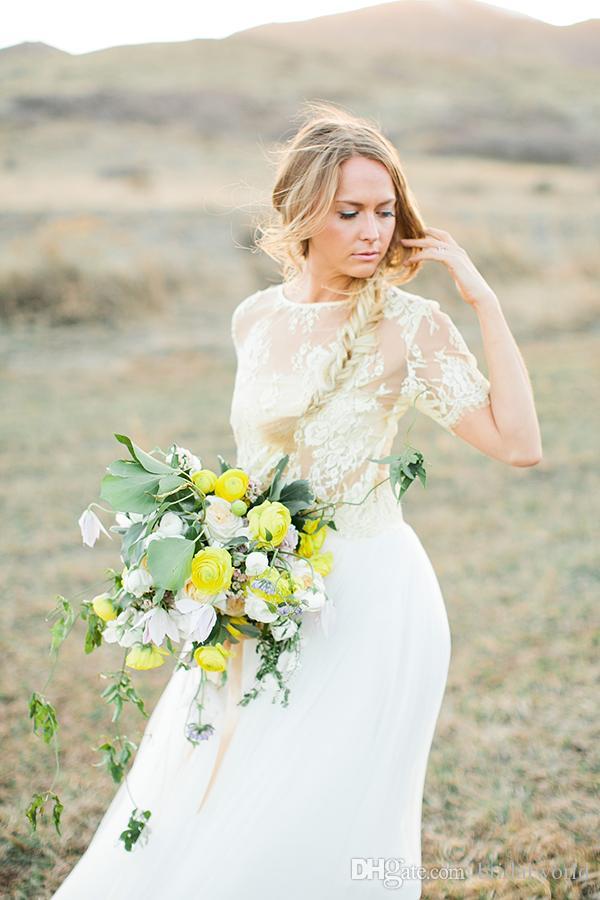 Два куска свадебные платья кружева и шифон видеть через суд поезд-Line свадебные платья с коротким рукавом драгоценный камень декольте стиль страны