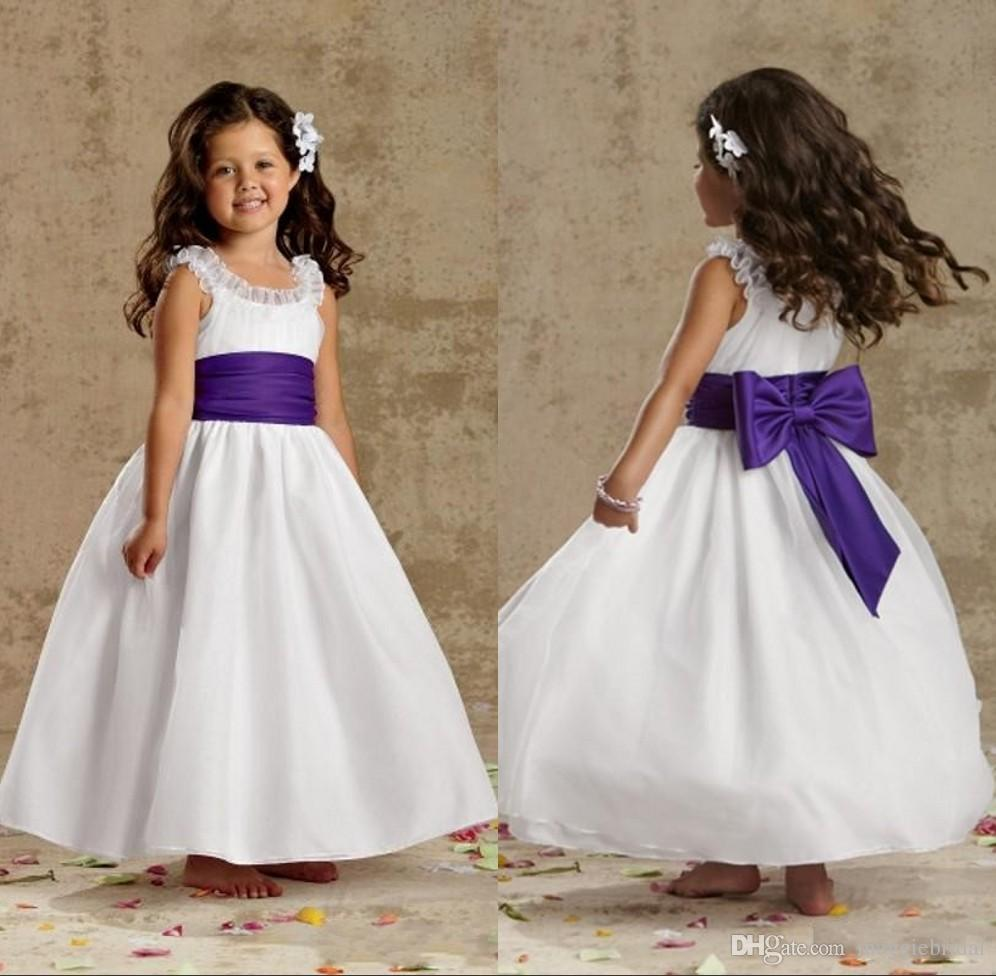 White and purple flower girls gowns for wedding ankle length crew white and purple flower girls gowns for wedding ankle length crew neck long zipper cheap cupcake pageant dress kids evening gowns wear pink flower girl mightylinksfo