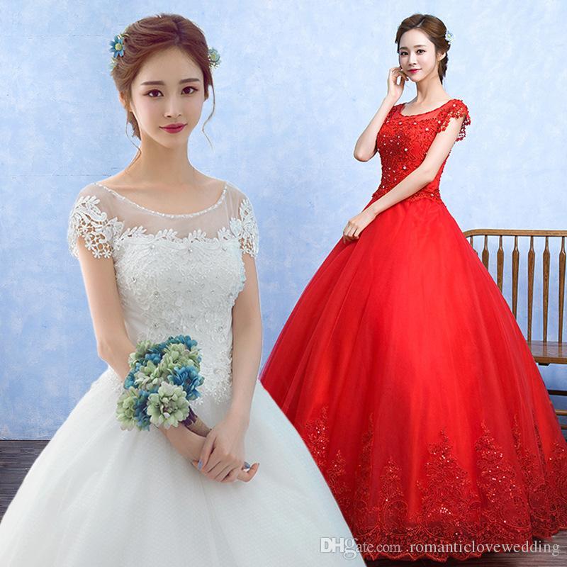 Quality O Neck Short Sleeves White Wedding Dress Bride Wedding