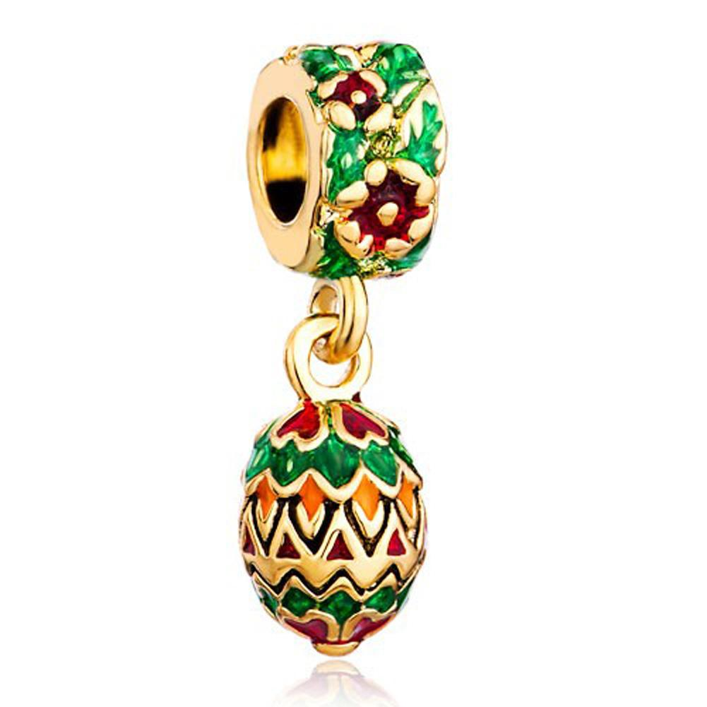 Faberge egg pendant dangle Easter Egg Christmas charm metal slide bead European spacer charm fit Pandora Chamilia Biagi charm bracelet