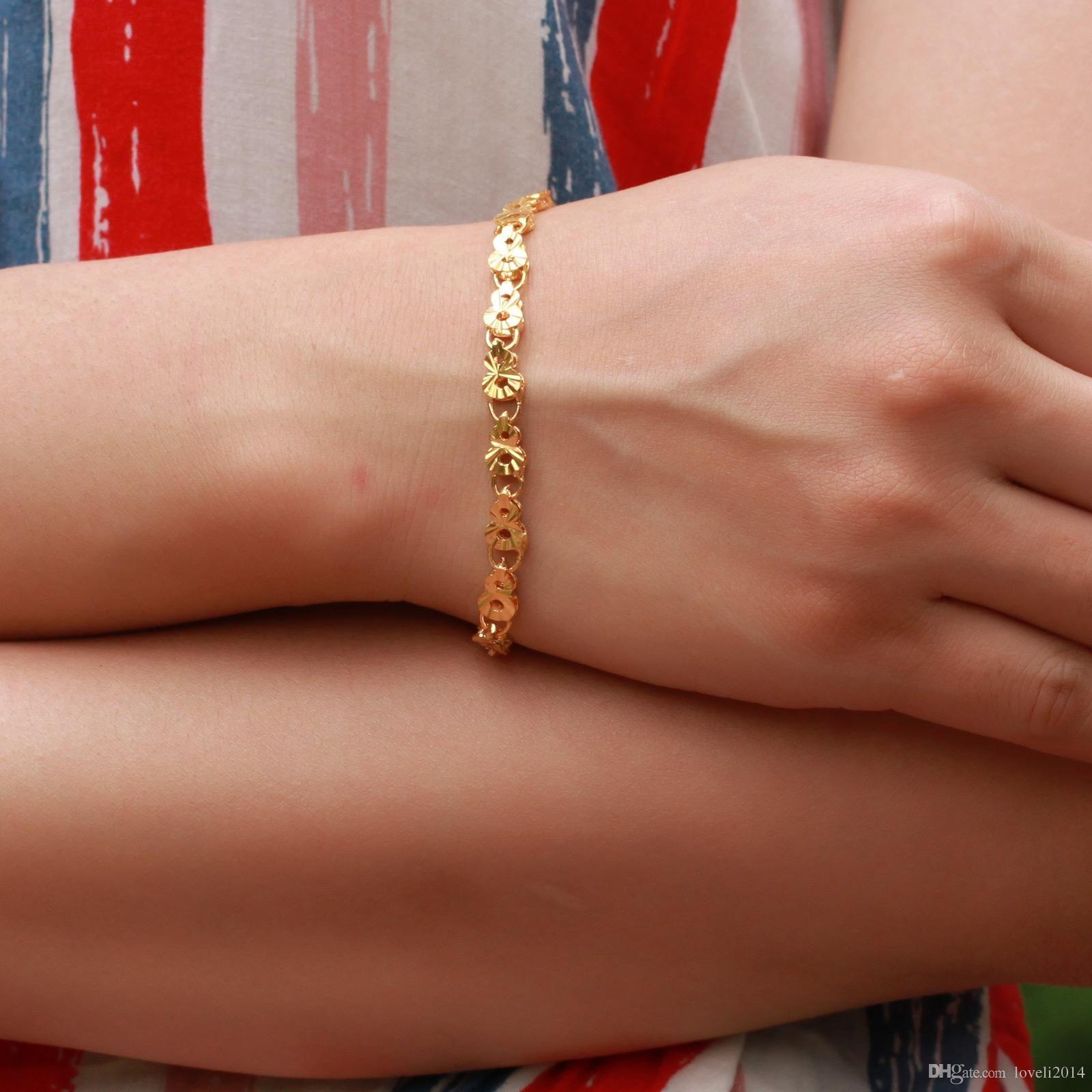 Snelle gratis verzending Fijne bruiloft sieraden 18K gouden armband, vrouwen armband breed 6 mm lengte 21.5cm