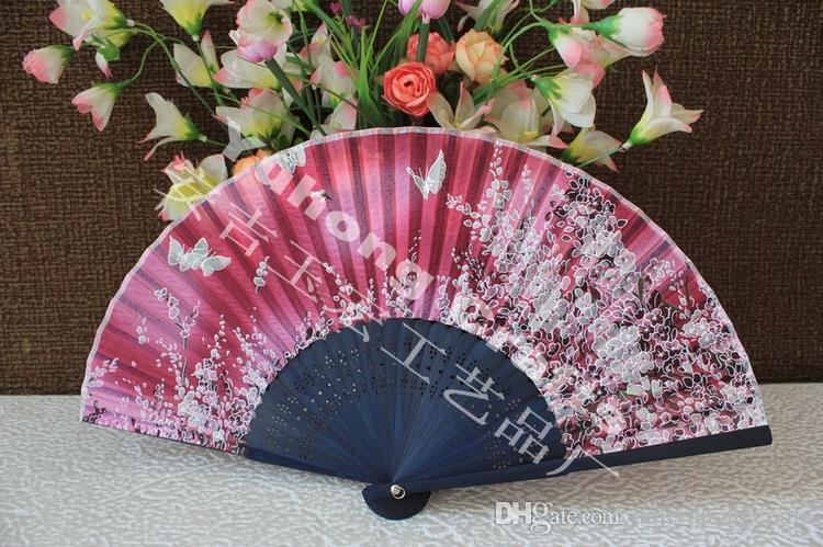 high quality real silk folding fan bamboo frame butterfly design & cherry-blossom design Japanese hand fan