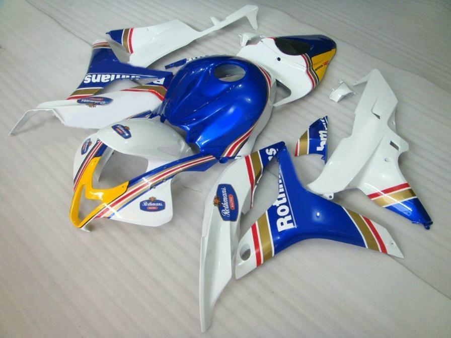 Injection molding Plastic fairings set for HONDA CBR600RR 07 08 fairing kit CBR 600RR F5 2007 2008 white blue motobike KQ47