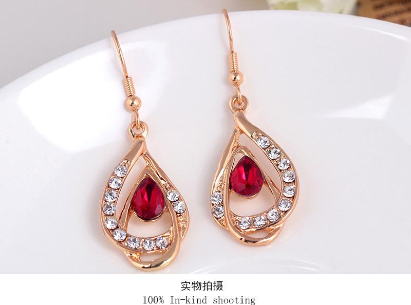 Luxury Ruby Emerald Crystal Pendant Necklace + Stud jewelry Set Fashion Gemstone women Jewelry Sets for beautiful dress