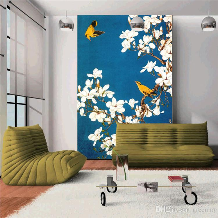 vintage wall mural hand painted flowers and birds photo. Black Bedroom Furniture Sets. Home Design Ideas