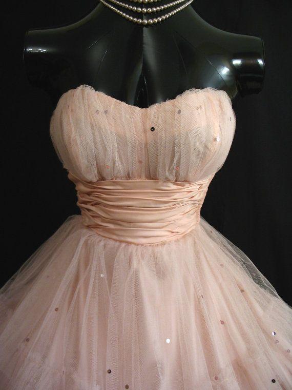 Винтаж 50-х оболочка розовый Пром платья без бретелек слоистых тюль блестки чай длина короткие Homecoming платье бальное платье свадьба платья
