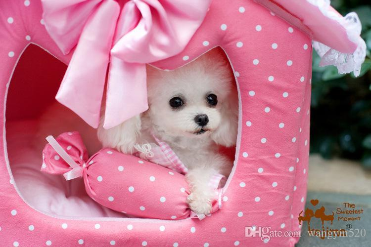 2 Size Princess Pet Bed Pet House Dog House Collapsible Pet Pink