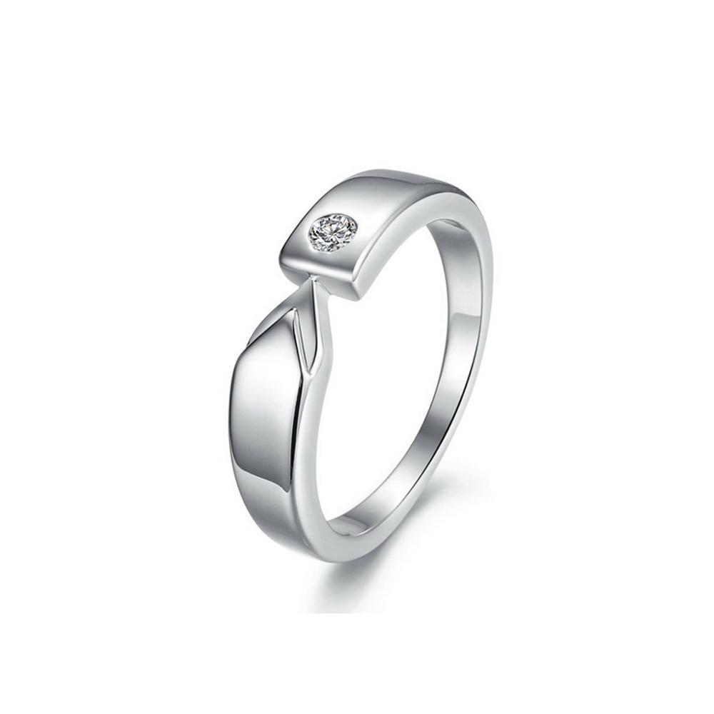 Gratis verzending Finewholesale - verlovingsringen, damesharten en pijlen Diamond ring simulatie, platina plating ring, trouwring