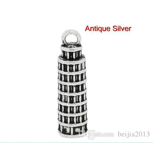!fashion Charm Pendants Italy Leaning Tower of Pisa Antique Silver 26x7mm,B21472 charms,diy