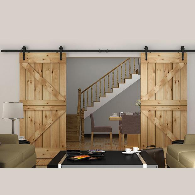2018 8ft Double Sliding Barn Door Hardware Rustic Black Arrow Wheel