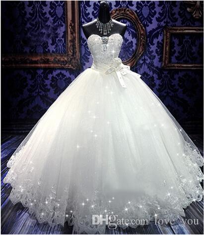 Robes de mariée en cristal de haute qualité Real Photo Bling Bling Retour Bandage Tulle Appliques -parole longueur Robe de mariée Robes de mariée