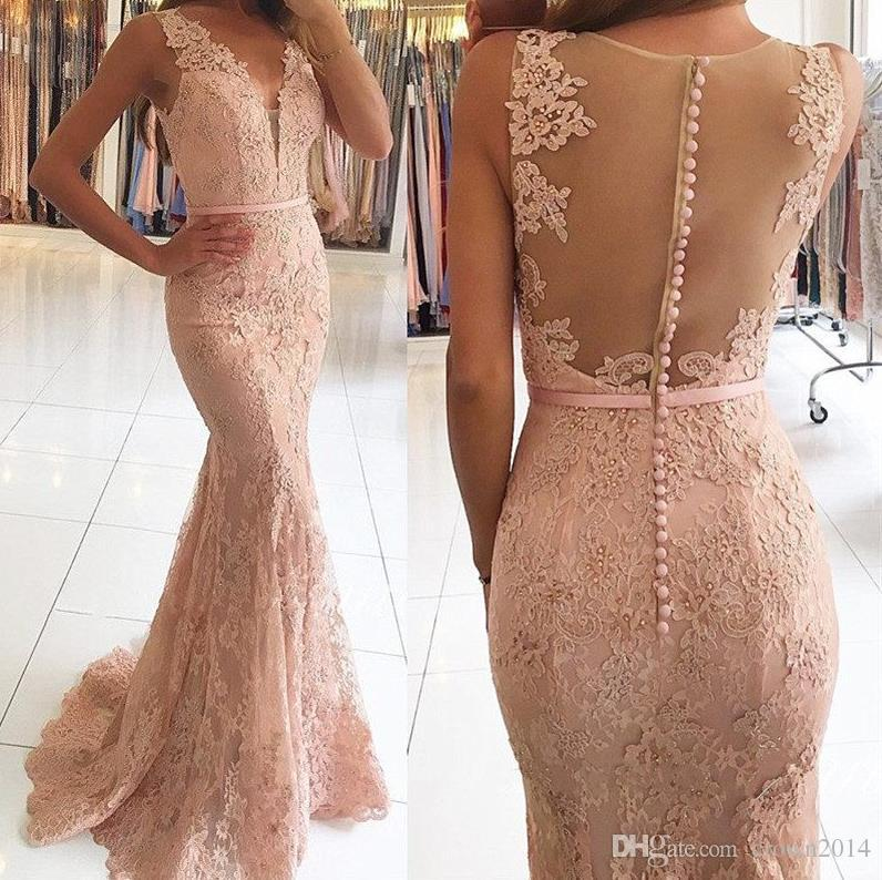 1f417feef46a6 2018 Mermaid Blush Pink Sexy Lace Long Evening Dresses V Neck Beaded Sheer  Back Formal Prom Evening Wear Gowns Special Occasion Dresses Evening Dresses  For ...
