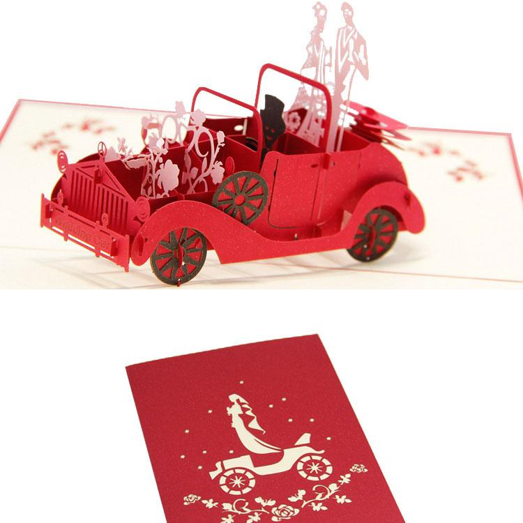 200130mm 3d Classic Car Wedding Invitations Card Festival And A