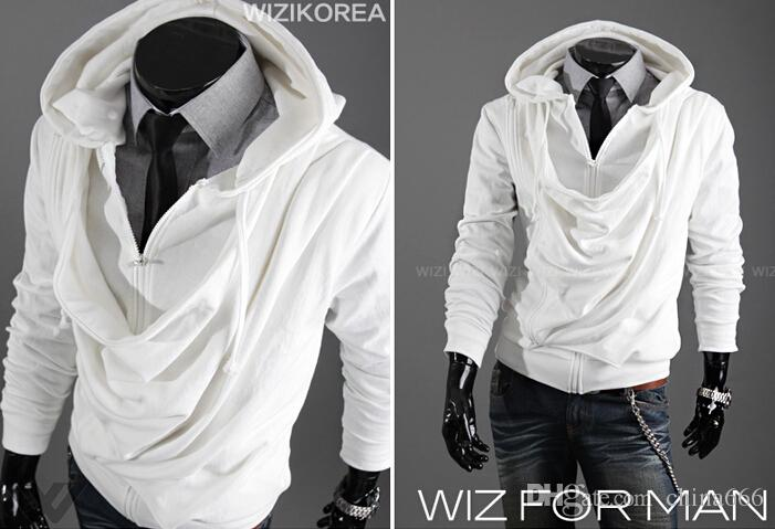2015 fashion heap collar design tide men casual personality Slim Stayed hooded cardigan sweater coat.@897f