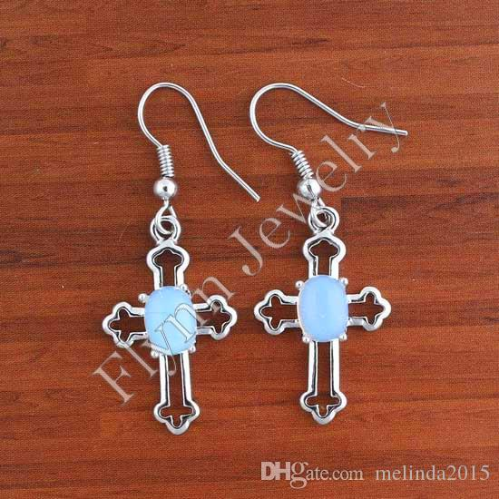 Charm Rose Quartz Turquoise White Crystal etc Natural Stone Bead Mini Cross Drop Earrings Accessories Silver Plated Fashion Jewelry 14X Mix