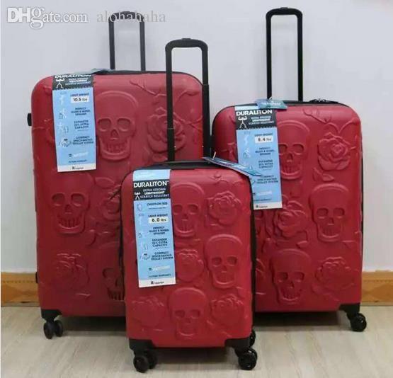 Wholesale 20,24,28 Inch Spinner Wheel Travel Suitcase Unisex Skull ...
