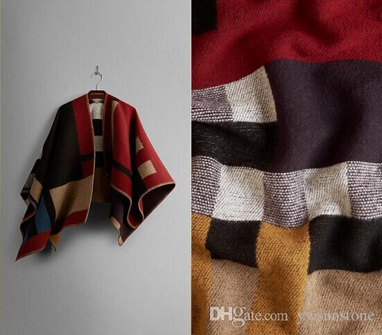 2014 Brand Designer Women Colour Black Check Blanket Poncho Wool Plain Cape For Lady, Free Shipping