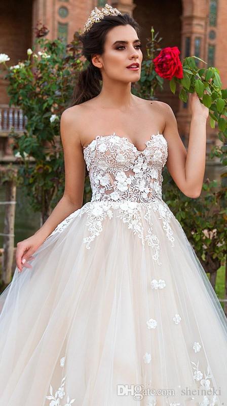 2018 alta calidad nueva elegante champaña cariño cuello una línea de vestidos de novia sin mangas apliques con cordones de tul vestido de novia por encargo