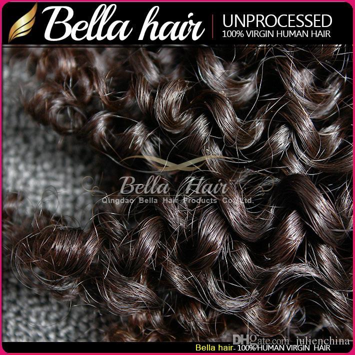 Bella Hair® Grade 8-30inch 100% onbewerkte Indiase Maagd Haar Weave Inslag Natuurlijke Kleur Krullende Uitbreiding 2 Bundels