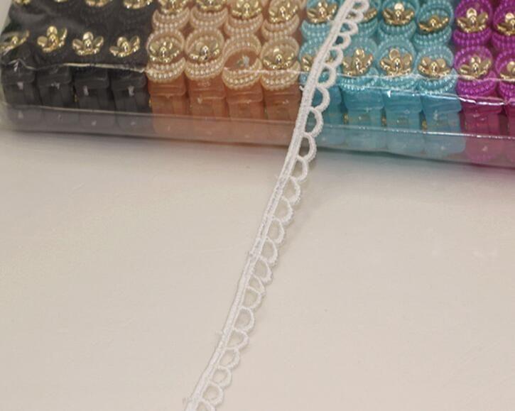 "15 Yard Width 0.4"" White Wave shape Lace Cotton Fabric Trim For DIY Bridal wedding Doll Cap"