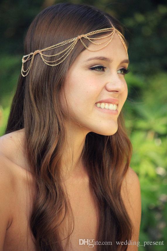 Venta caliente 2015 vendas de la concha de la vendimia cadena nupcial de la cabeza accesorios del pelo de la boda de oro y plata vendas para las mujeres