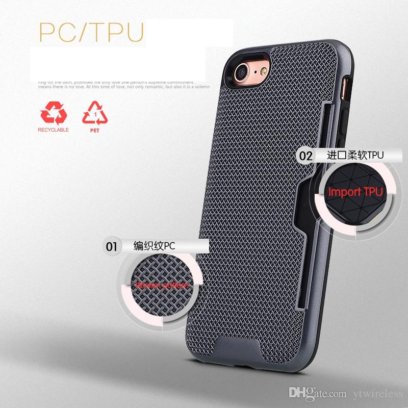 Pour Samsung S8 S7 Bord Note4 Note5 J3 J5 J7 2016 Tissé Modèle Porte-Carte Plein De Protection Tpu Extérieure Pc Hybride Intérieure Cas