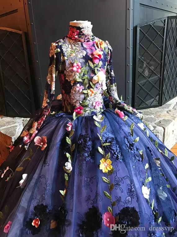 2019 Pretty Fairy High Neck Flower Girls Dress Long Sleeve 3D Floral Apliques Girls Pageant Dresses Hand Made Flowers Lace Birthday Dress