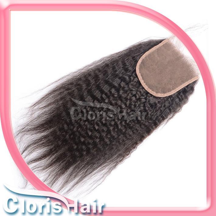 Cierre recto rizado indio crudo con el pelo del bebé grueso Yaki Top encaje Cierres pieza nudos blanqueados Afro rizado recto cierre del cabello humano