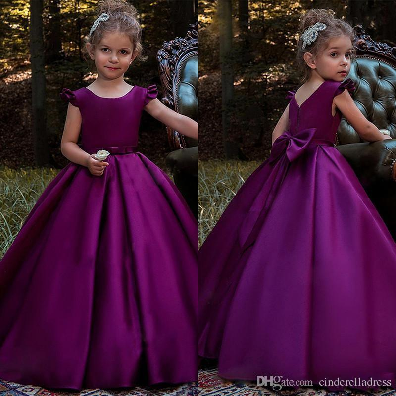 efbb881304a5 2018 Cute Purple Satin Flower Girl Dresses Bow Back Princess Birthday Party Gowns  Toddler Little Girls Pageant Dress First Communion Dresses Toddler Easter  ...