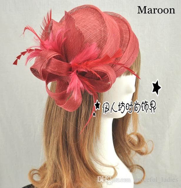 i cappelli da sposa di alta qualità piccolo fiore sinamay cappelli le donne spedizione gratuita accessori capelli da sposa cappelli da festa piuma all'ingrosso