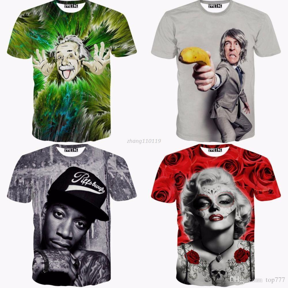 Pictures of wiz khalifa pictures of celebrities - 2016 Summer Style Funny Obama Einstein Marilyn Monroe Wiz Khalifa T Shirt Men Nicolas Cage Celebrities 3d Print Women T Shirts Coolest Shirts Funny T Shirt