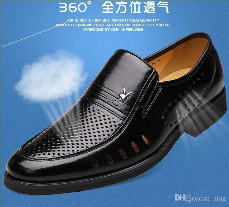 Summer Latest Groom dress shoes حذاء تنفس أسود من الجلد للرجال بأحذية رجالية صندل جلد صناعي NLX171