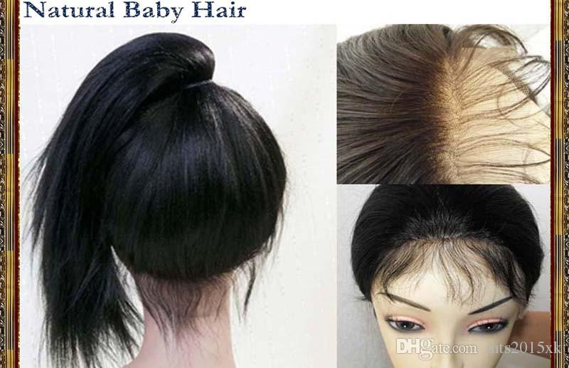 Sin procesar 3T # 1b / 33/27 Onda rizada Ombre Peluca de encaje completo con pelos de bebé Parte lateral del frente del cordón Pelucas de cabello humano En Stock