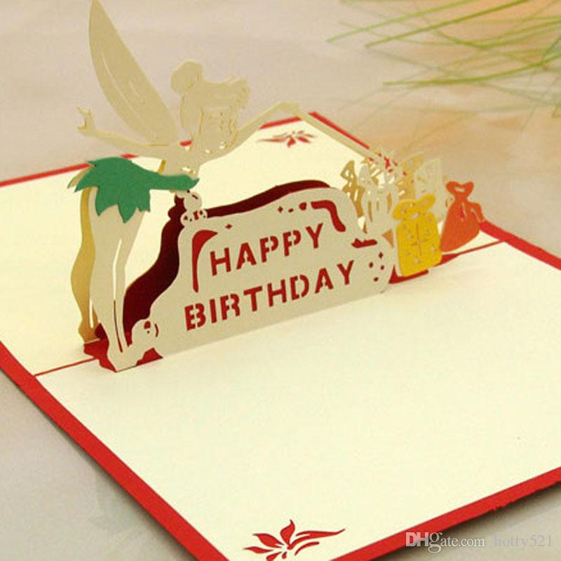 3D Laser Cut Invitations Korean Handmade Pop Up Card Cubic Little Fairy Birthday GreetingGift Cards Kids Greeting From Hotty521