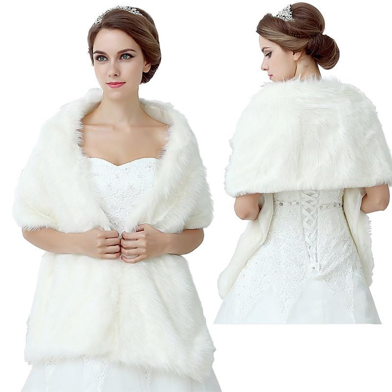New Free Shipping White Faux Fur Cape Winter Shrug Stole Wrap Wedding Bridal Bridesmaid Wrap Shawl Bolero Jacket Coat Bridal Accessory Cheap