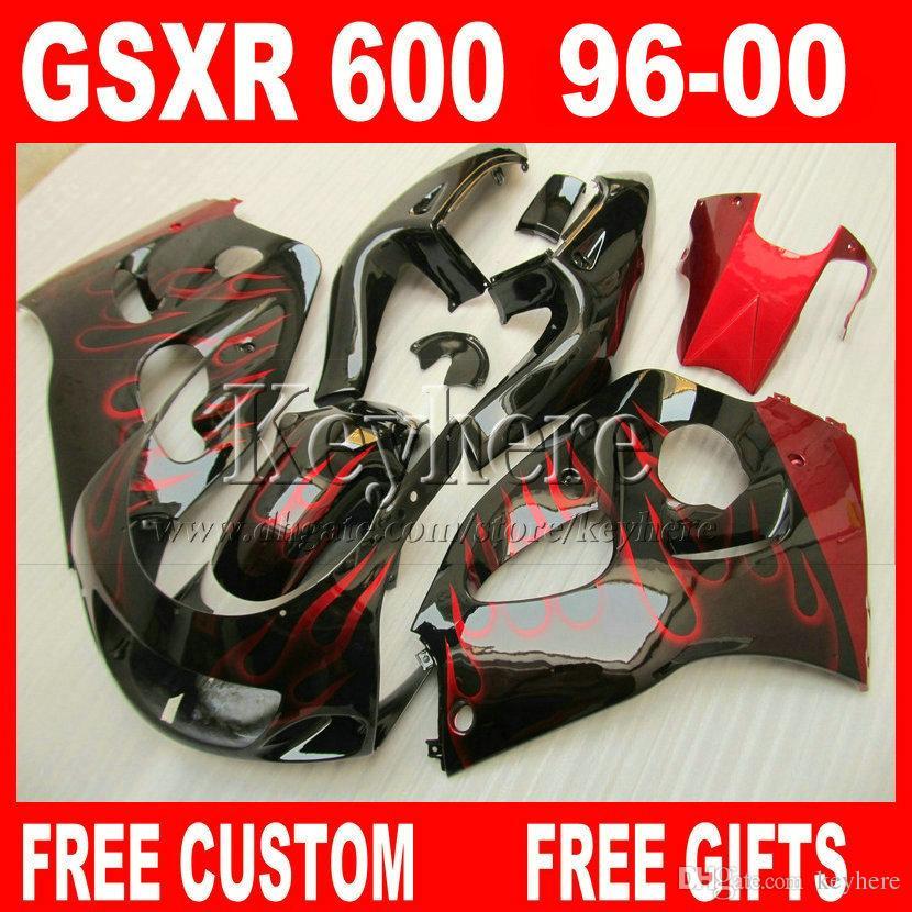 Personalizar pintar carenado kit para SUZUKI SRAD GSXR600 96 llamas 97 98 99 00 GSXR750 carenados rojos GSXR 600 750 1996 1997 1998 1999 2000 5M6G